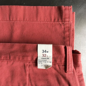 J Crew 100% Cotton Classic Fit Chinos in Faded Red